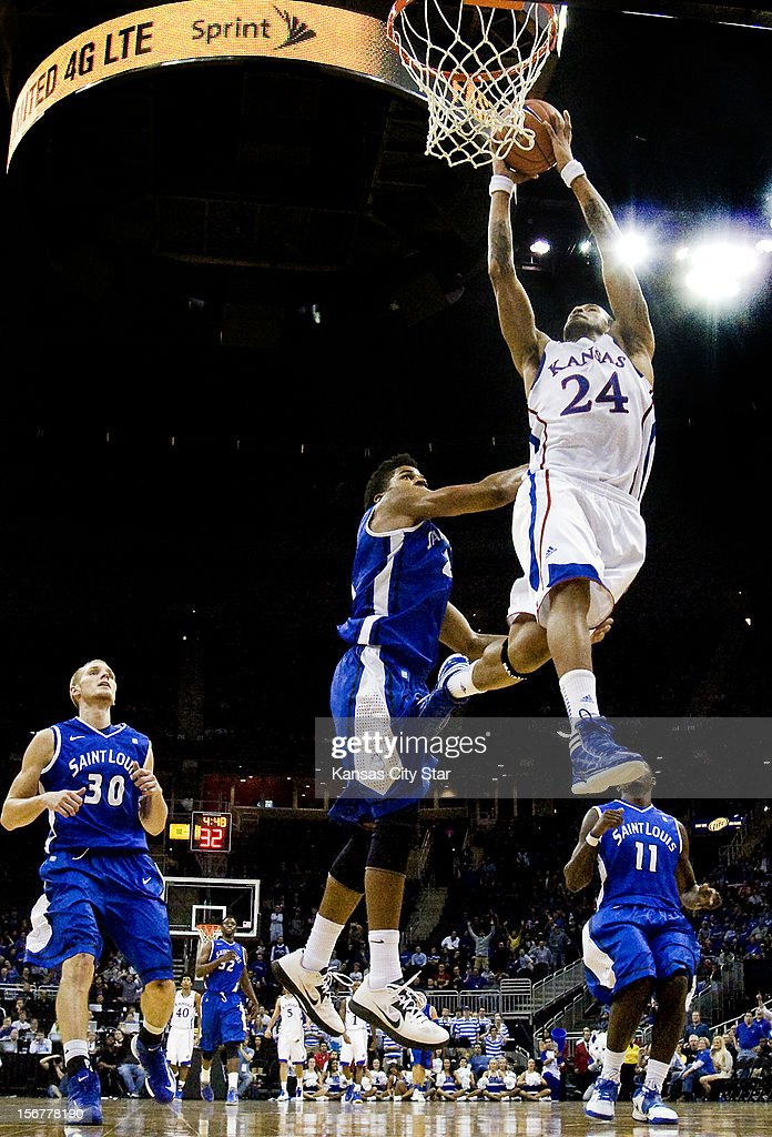 Kansas' Travis Releford slams home two of his 23 points in a 73-59 win over Saint Louis in the championship of the CBE Hall of Fame Classic at the Sprint Center in Kansas City, Missouri, on Tuesday, November 20, 2012.