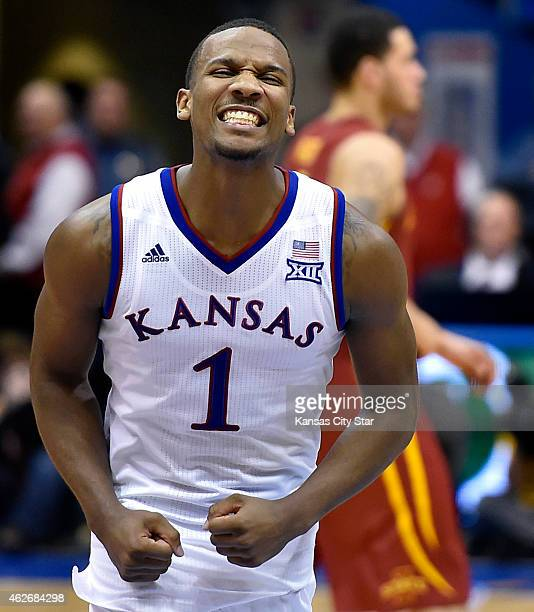 Kansas' Wayne Selden celebrates amid an 8976 win against Iowa State at Allen Fieldhouse in Lawrence Kan on Monday Feb 2 2015