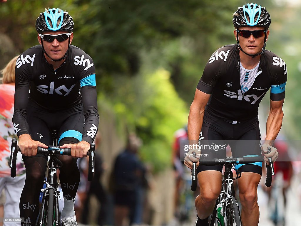 Kanstantsin Siutsou (l) and Vasil Kiryienka of Belarus ride together during training on day five of the UCI Road World Championships on September 26, 2013 in Florence, Italy.
