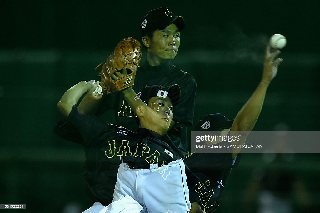 Kanta Okada of Japan pictches in the bottom half of the third inning in the game between Australia and Japan during The 3rd WBSC U15 Baseball World...