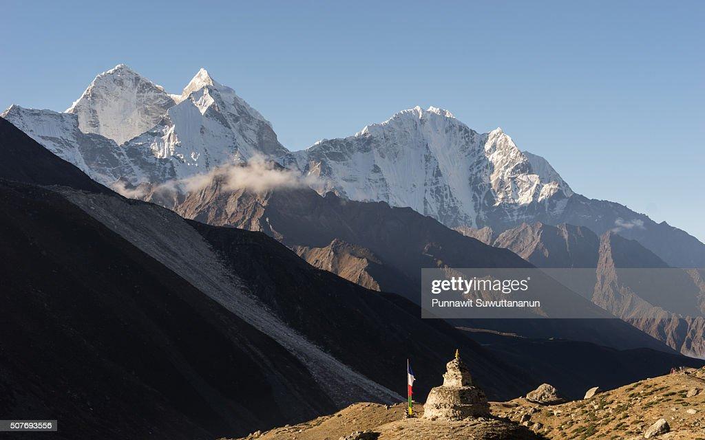 Kantega mountain peak and pagoda at Dingboche village, Everest region
