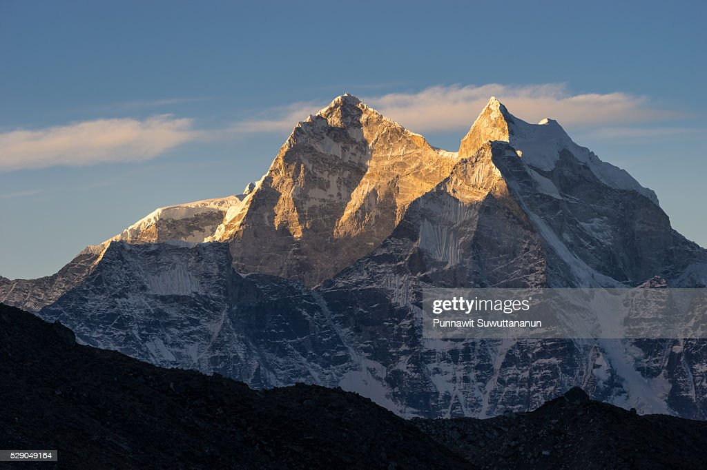 Kantega mountain peak in the morning sunrise, Everest region