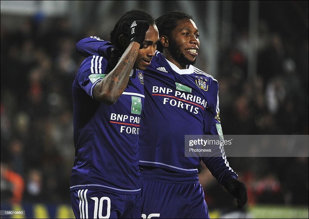 MONS, BELGIUM - DECEMBER 08 Kanu Rubenilson Dos Santos de Rocha of RSC Anderlecht celebrates during the Jupiler League match between RAEC MONS vs RSC Anderlecht on December 08 , 2012 in Mons, Belgium.