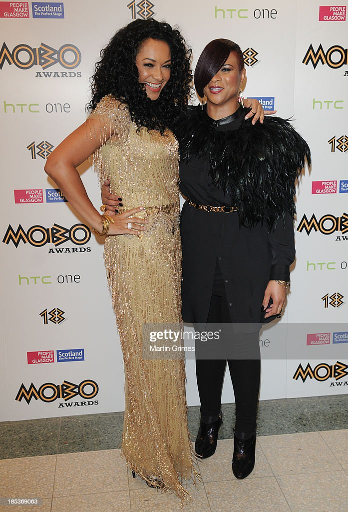 Kanya King and Gabrielle pose at the 18th anniversary MOBO Awards at The Hydro on October 19, 2013 in Glasgow, Scotland.