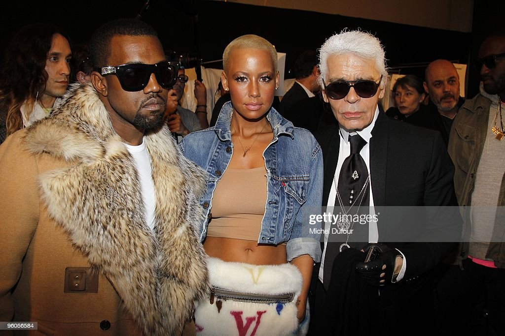 Kanye West, Amber Rose and Karl Lagerfeld at the Dior Homme fashion show during Paris Menswear Fashion Week Autumn/Winter 2010 at Palais Omnisports de Bercy on January 23, 2010 in Paris, France.