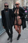 Kanye West and Amber Rose arriving at the Kriss Van Assche fashion show during Paris Menswear Fashion Week Autumn/Winter 2010 at Couvent des...