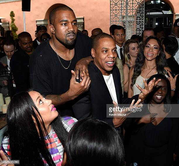 Kanye West and Jay Z attend the Roc Nation and Three Six Zero PreGRAMMY Brunch at Private Residence on February 7 2015 in Beverly Hills California