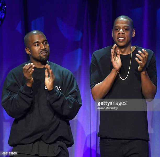 Kanye West and JAY Z onstage at the Tidal launch event #TIDALforALL at Skylight at Moynihan Station on March 30 2015 in New York City