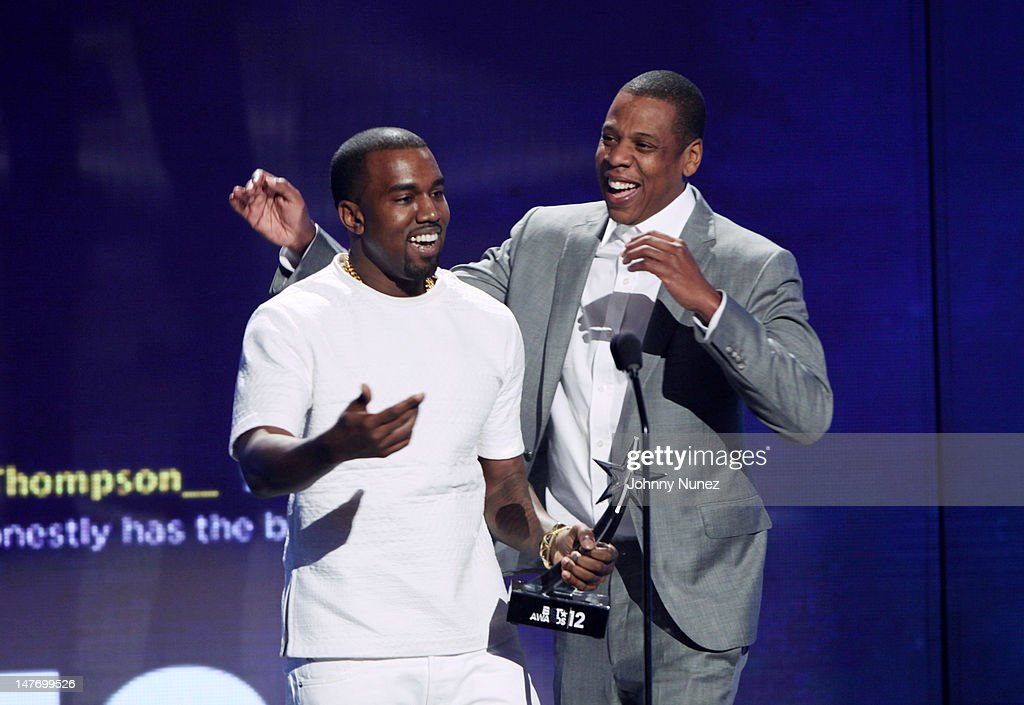 <a gi-track='captionPersonalityLinkClicked' href=/galleries/search?phrase=Kanye+West+-+Musician&family=editorial&specificpeople=201803 ng-click='$event.stopPropagation()'>Kanye West</a> and <a gi-track='captionPersonalityLinkClicked' href=/galleries/search?phrase=Jay-Z&family=editorial&specificpeople=201664 ng-click='$event.stopPropagation()'>Jay-Z</a> attend the 2012 BET Awards at The Shrine Auditorium on July 1, 2012 in Los Angeles, California.
