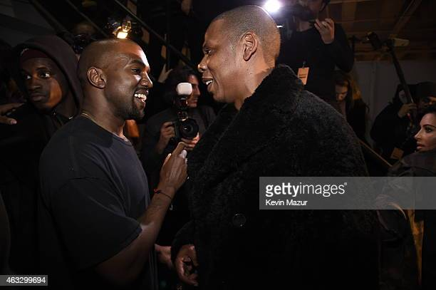 Kanye West and JayZ backstage at the adidas Originals x Kanye West YEEZY SEASON 1 fashion show during New York Fashion Week Fall 2015 at Skylight...