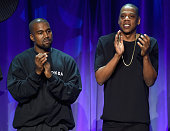 Kanye West and JAYZ onstage at the Tidal launch event #TIDALforALL at Skylight at Moynihan Station on March 30 2015 in New York City