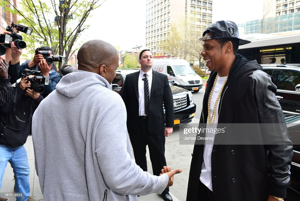 Kanye West and Jay-Z seen on the streets of Manhattan on April 22, 2013 in New York City.