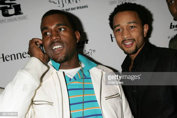 Kanye West and John Legend arrive for the GOOD Music record label launch party at Duvet February 7 2005 in New York City