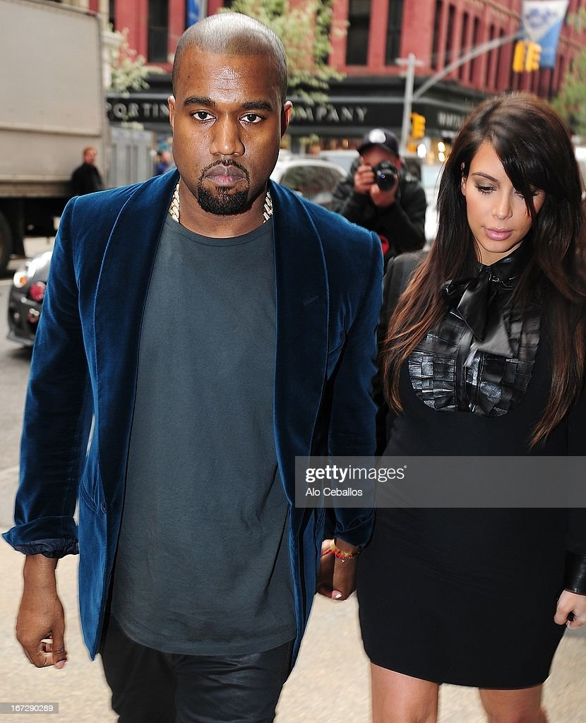 Kanye West and Kim Kardashian are seen in Soho on April 23, 2013 in New York City.
