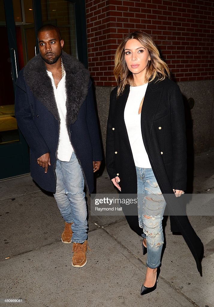 <a gi-track='captionPersonalityLinkClicked' href=/galleries/search?phrase=Kanye+West+-+Musician&family=editorial&specificpeople=201803 ng-click='$event.stopPropagation()'>Kanye West</a> and <a gi-track='captionPersonalityLinkClicked' href=/galleries/search?phrase=Kim+Kardashian&family=editorial&specificpeople=753387 ng-click='$event.stopPropagation()'>Kim Kardashian</a> are seen walking in Soho on November 20, 2013 in New York City.
