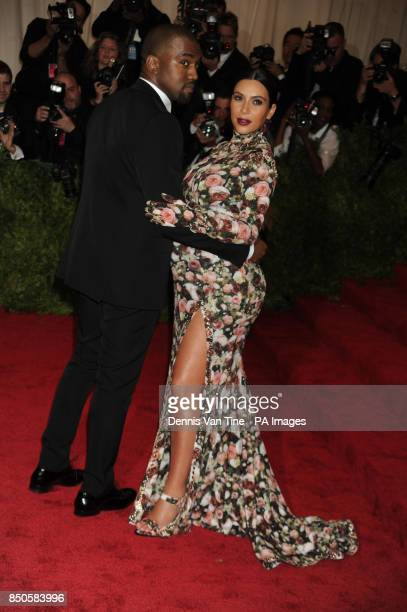 Kanye West and Kim Kardashian attend the 'Punk' Chaos to Couture' Costume Institute Benefit Met Gala at the Metropolitan Museum in New York