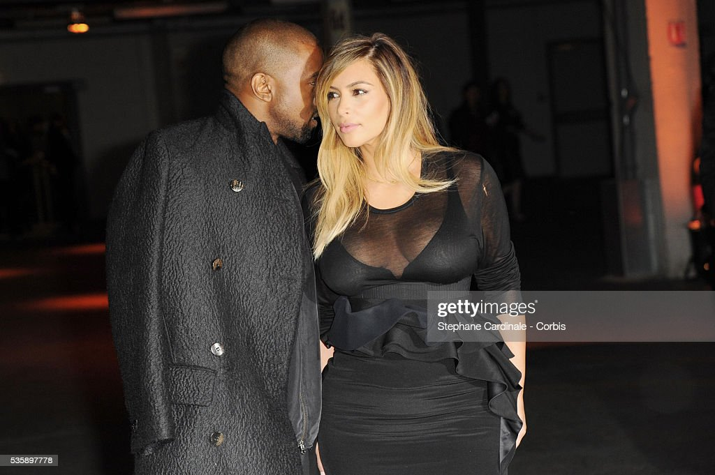 Kanye West and Kim Kardashian attends Givenchy show, as part of the Paris Fashion Week Womenswear Spring/Summer 2014, in Paris.