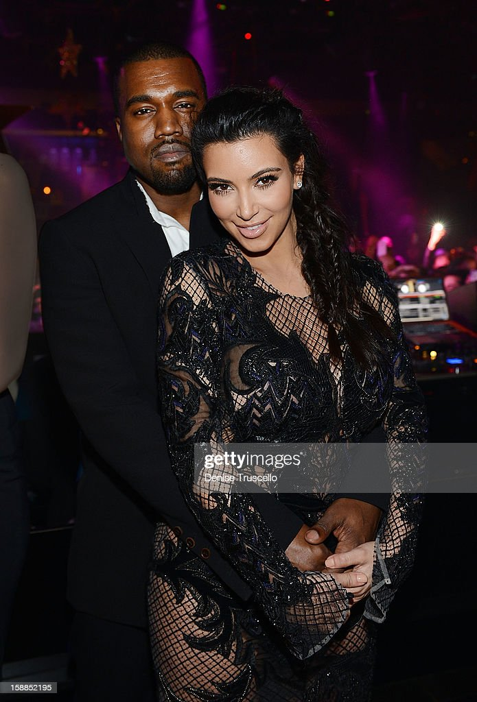 Kanye West and Kim Kardashian celebrate New Year's Eve countdown at 1 OAK Nightclub at The Mirage Hotel & Casino on December 31, 2012 in Las Vegas, Nevada.