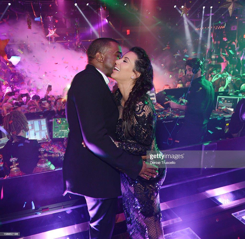 Kanye West and Kim Kardashian celebrate New Year's Eve countdown at 1 OAK Nightclub at The Mirage Hotel & Casino on December 31, 2012 in Las Vegas, Nevada.
