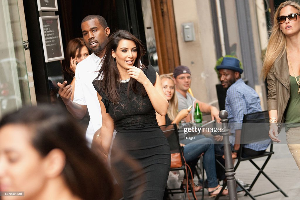 Kanye West and Kim Kardashian leave the Valentino Haute-Couture Show as part of Paris Fashion Week Fall / Winter 2013 at Hotel Salomon de Rothschild on July 4, 2012 in Paris, France.