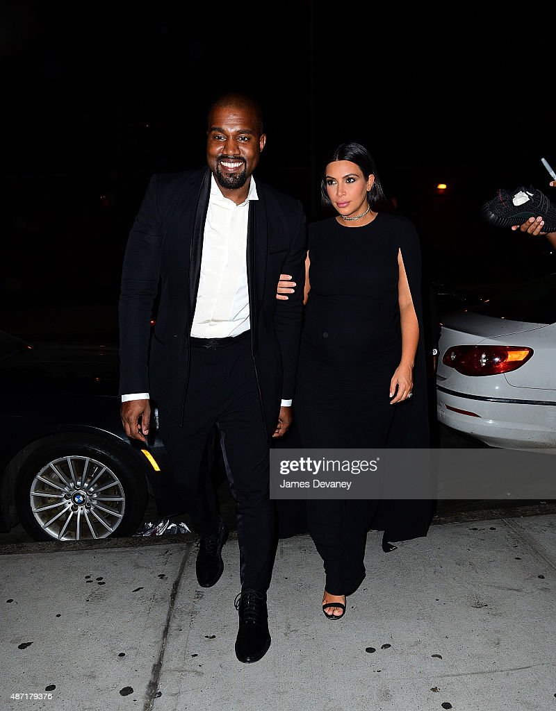 Kanye West and Kim Kardashian seen on the streets of Manhattan on September 7, 2015 in New York City.