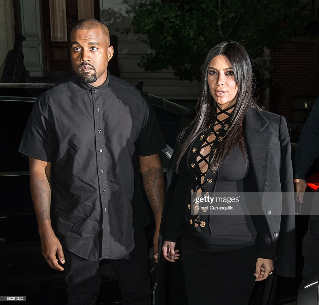 Kanye West and Kim Kardashian West are seen on the Upper East Side during Spring 2016 New York Fashion Week on September 14, 2015 in New York City.