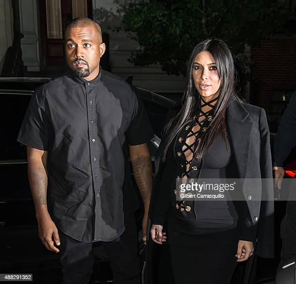 Kanye West and Kim Kardashian West are seen on the Upper East Side during Spring 2016 New York Fashion Week on September 14 2015 in New York City