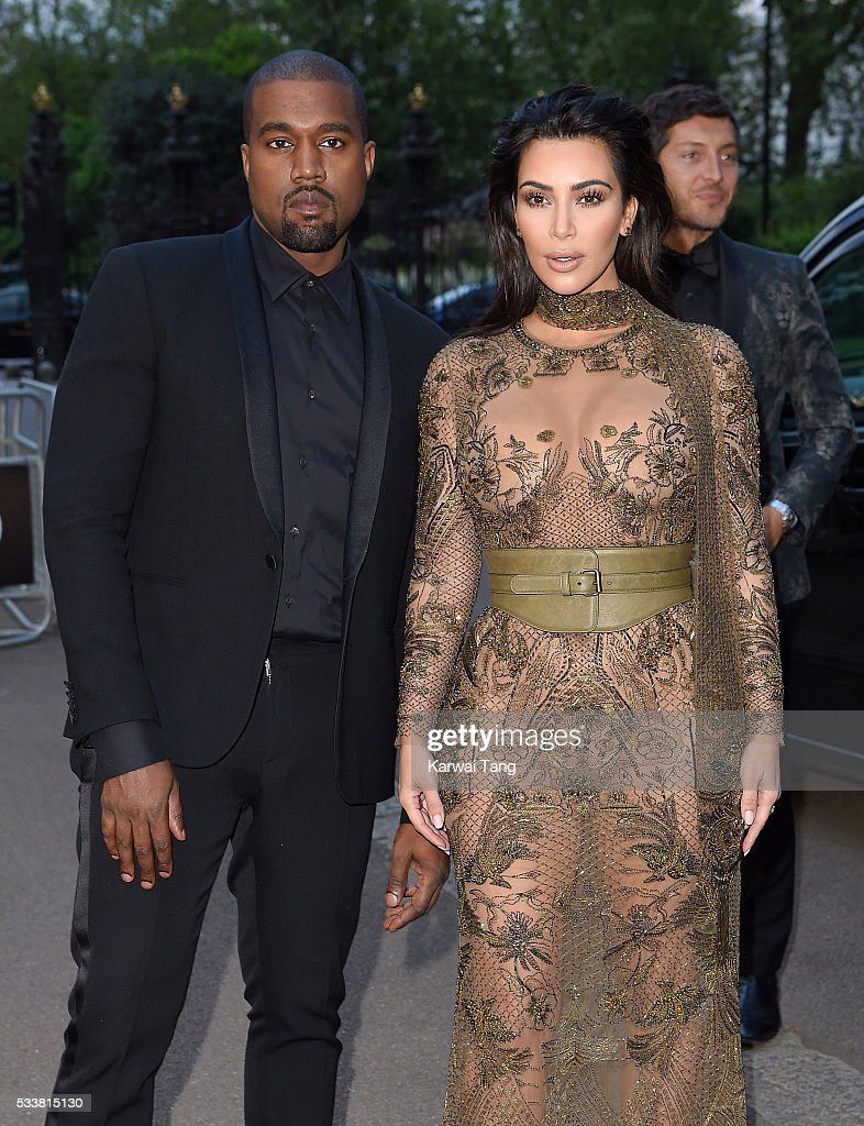 Kanye West and Kim Kardashian West arrive for the Gala to celebrate the Vogue 100 Festival at Kensington Gardens on May 23, 2016 in London, England.