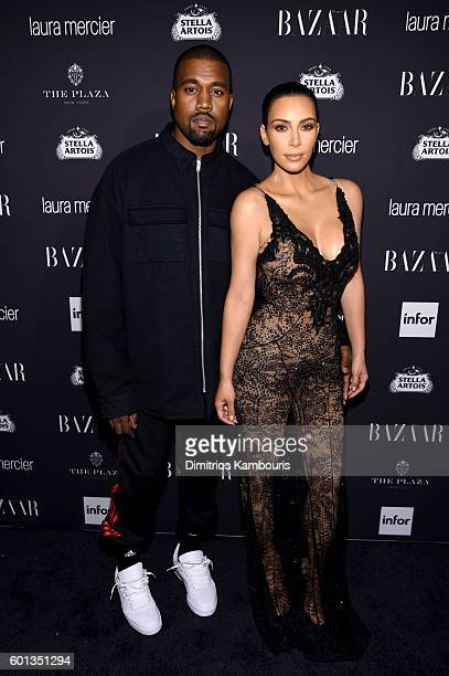 Kanye West and Kim Kardashian West attend Harper's Bazaar's celebration of 'ICONS By Carine Roitfeld' presented by Infor Laura Mercier and Stella...