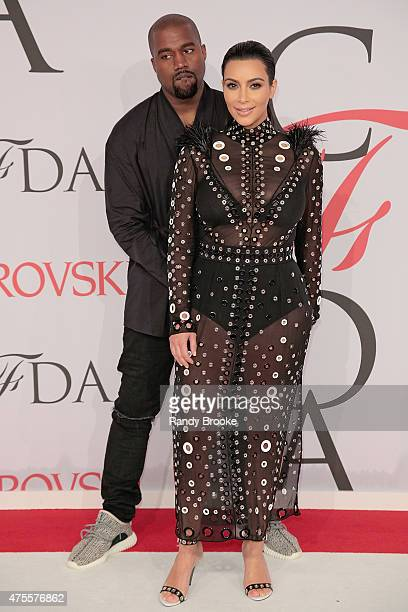 Kanye West and Kim Kardashian West attend the 2015 CFDA Fashion Awards at Alice Tully Hall at Lincoln Center on June 1 2015 in New York City