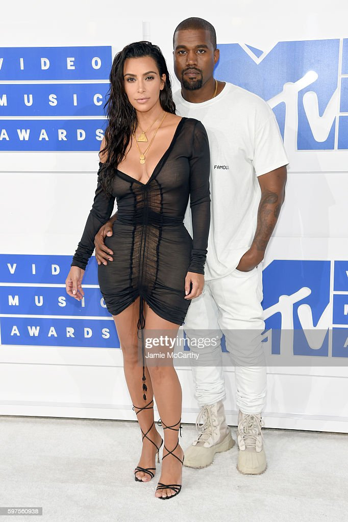 Kanye West and Kim Kardashian West attend the 2016 MTV Video Music Awards at Madison Square Garden on August 28 2016 in New York City