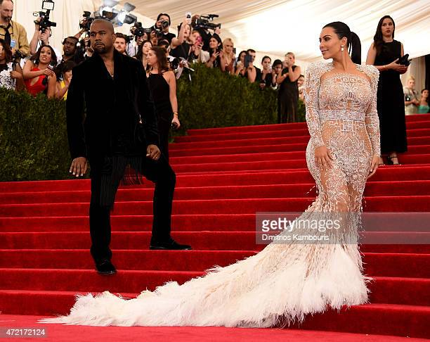 Kanye West and Kim Kardashian West attend the 'China Through The Looking Glass' Costume Institute Benefit Gala at the Metropolitan Museum of Art on...