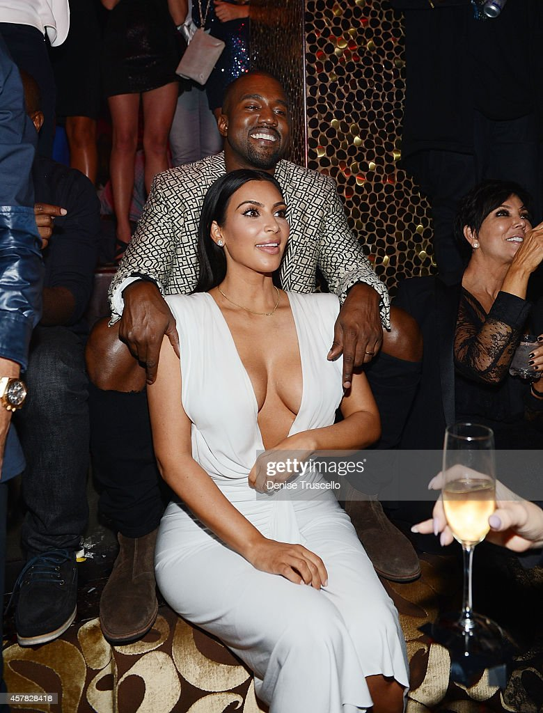 Kanye West and Kim Kardashian West celebrate Kim's birthday at TAO Nightclub to celebrate her birthday at the Venetian on October 24 2014 in Las...