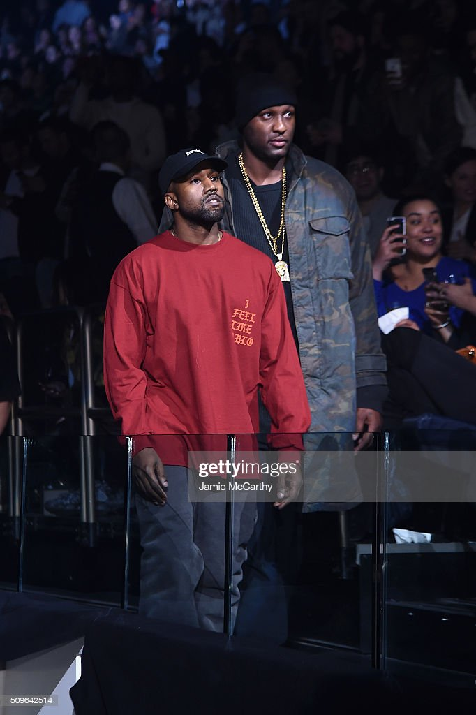 Kanye West (L) and Lamar Odom attend Kanye West Yeezy Season 3 on February 11, 2016 in New York City.