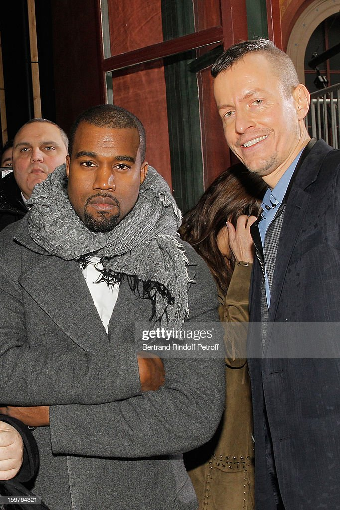Kanye West (L) and Lucas Ossendrijver pose following the Lanvin Men Autumn / Winter 2013 show at Ecole Nationale Superieure Des Beaux-Arts as part of Paris Fashion Week on January 20, 2013 in Paris, France.