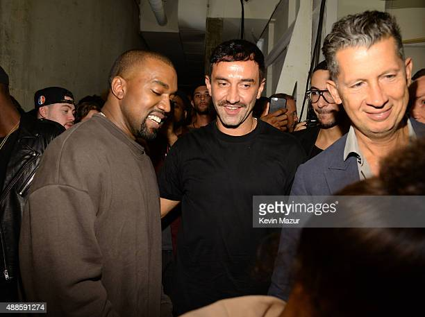 Kanye West and Riccardo Tisci attend Kanye West Yeezy Season 2 during New York Fashion Week at Skylight Modern on September 16 2015 in New York City