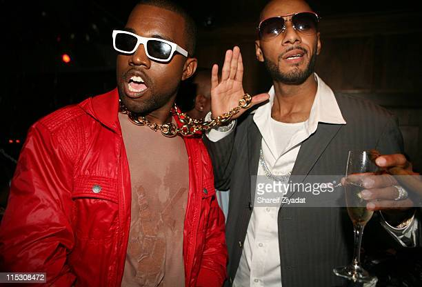 Kanye West and Swizz Beatz during Swiss Beatz Pre VMA/BDAY Party Presented by T3 Agency at Manor in New York United States