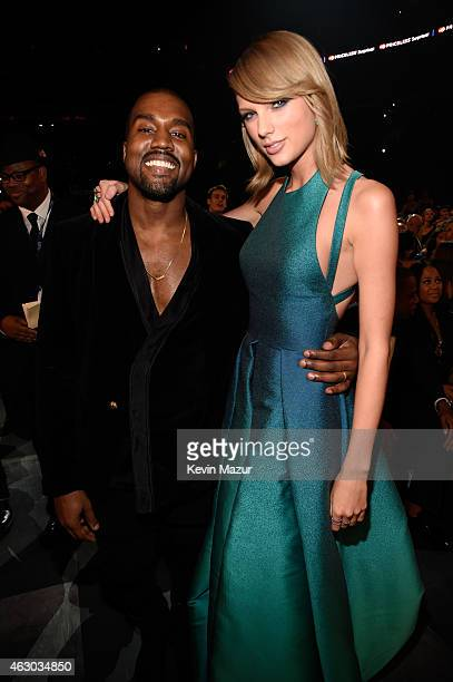 Kanye West and Taylor Swift attend The 57th Annual GRAMMY Awards at STAPLES Center on February 8 2015 in Los Angeles California