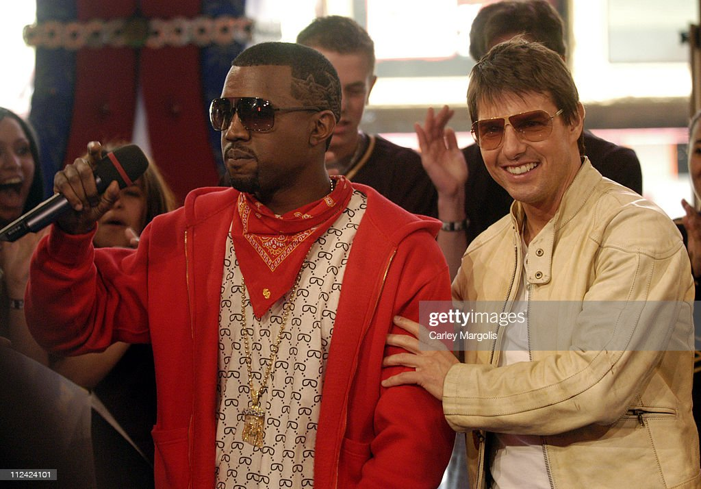 Kanye West and Tom Cruise during Tom Cruise Laurence Fishburne Ving Rhames Keri Russell Michelle Monaghan Jonathan Rhys Meyers and Maggie Q of...