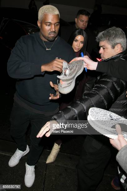 Kanye West and wife Kim Kardashian are seen on February 15 2017 in New York City
