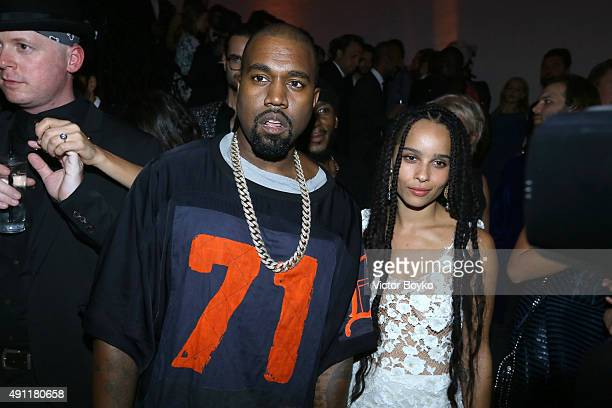 Kanye West and Zoe Kravitz attend Vogue 95th Anniversary Party on October 3 2015 in Paris France