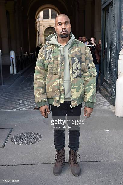 Kanye West arrives at Dries Van Noten fashion show during Paris Fashion Week Fall Winter 2015/2016 on March 4 2015 in Paris France