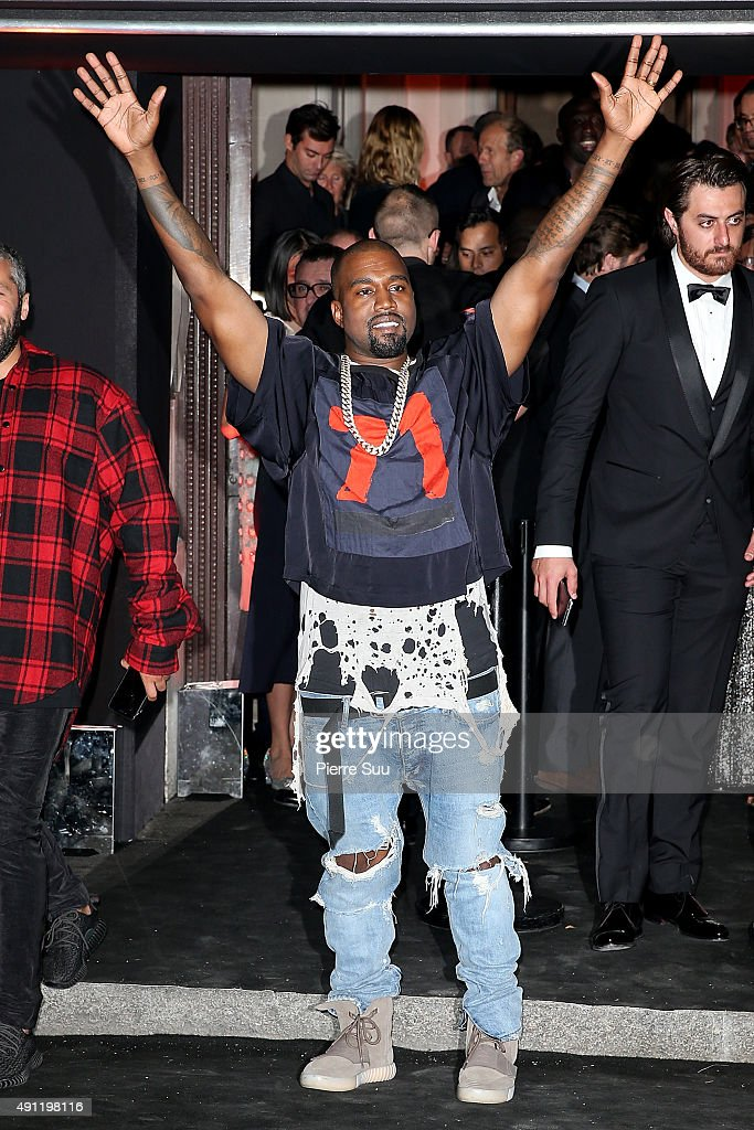 Kanye West arrives at Vogue 95th Anniversary Party as part of the Paris Fashion Week Womenswear Spring/Summer 2016 on October 3 2015 in Paris France
