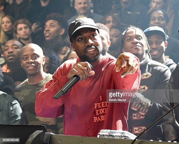 Kanye West attends Kanye West Yeezy Season 3 at Madison Square Garden on February 11 2016 in New York City