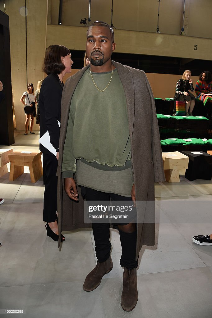 Kanye West attends the Celine show as part of the Paris Fashion Week Womenswear Spring/Summer 2015 on September 28 2014 in Paris France