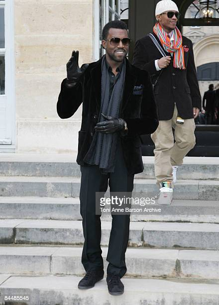 Kanye West attends the Christian Dior fashion show during Paris Fashion Week Haute Couture Spring/Summer 2009 at Musee Rodin on January 26 2009 in...