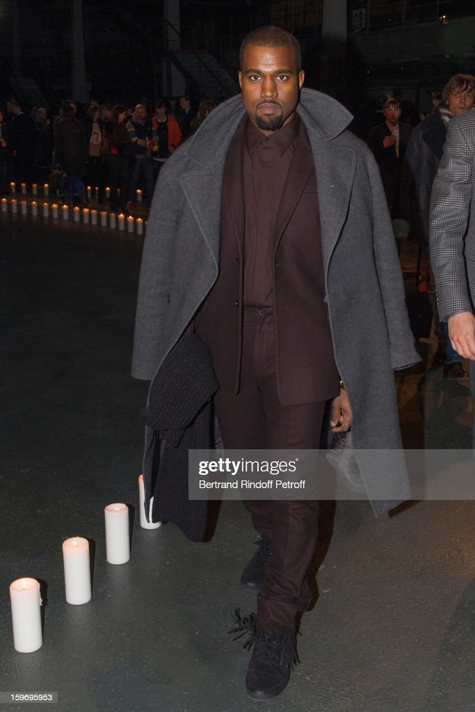 Kanye West attends the Givenchy Men Autumn / Winter 2013 show as part of Paris Fashion Week on January 18, 2013 in Paris, France.