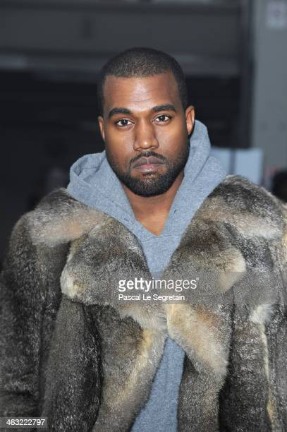 Kanye West attends the Givenchy Menswear Fall/Winter 20142015 Show as part of Paris Fashion Week on January 17 2014 in Paris France