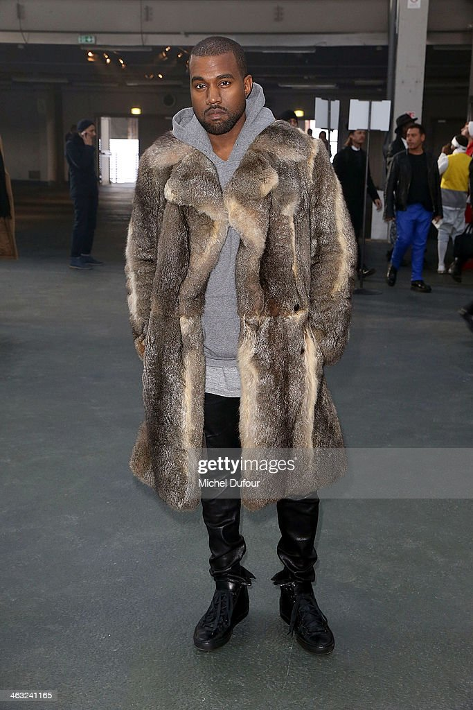 <a gi-track='captionPersonalityLinkClicked' href=/galleries/search?phrase=Kanye+West+-+Musician&family=editorial&specificpeople=201803 ng-click='$event.stopPropagation()'>Kanye West</a> attends the Givenchy Menswear Fall/Winter 2014-2015 Show as part of Paris Fashion Week on January 17, 2014 in Paris, France.