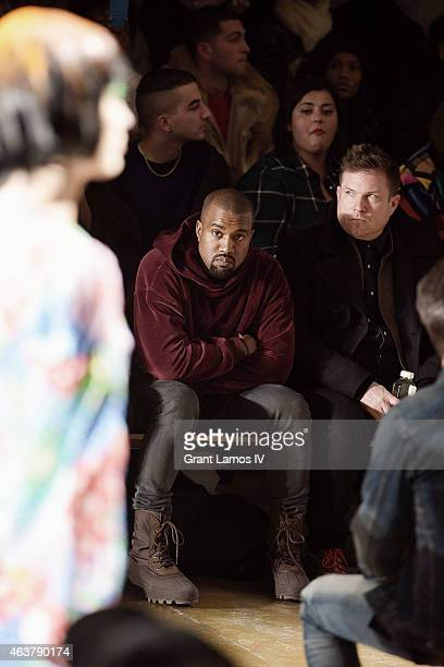 Kanye West attends the Jeremy Scott show during MADE Fashion Week Fall 2015 at Milk Studios on February 18 2015 in New York City